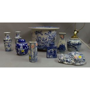 Nine Pieces of Asian Blue and White Porcelain