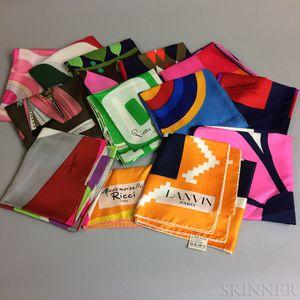Thirteen Designer Silk Scarves