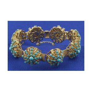 18kt Gold and Turquoise Bracelet
