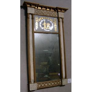 Federal Giltwood and Painted Tabernacle Mirror with Reverse-Painted Tablet.