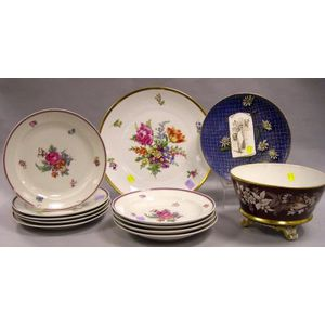 Twelve German and Austrian Decorated Porcelain Tableware Items