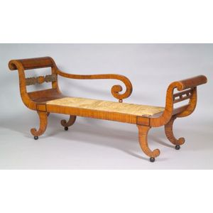 Classical Maple Carved, Paint and Gilt-Decorated Recamier