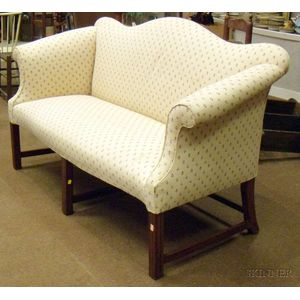 Chippendale-style Upholstered Camel-back Mahogany Settee