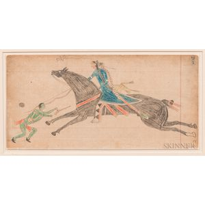 """Native American Ledger Drawing """"Touching Coup,"""""""