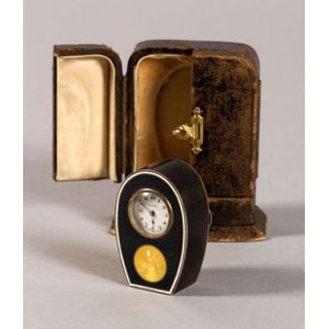 Swiss Enamel and Silver-gilt Boudoir Timepiece