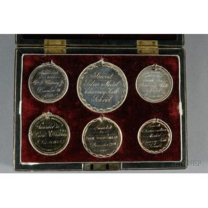 Six Cased Engraved Award of Merit Medals from the Chauncy Hall School, Boston