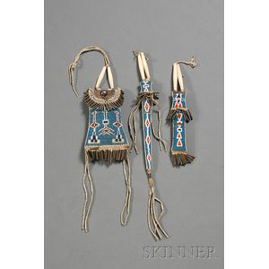 Southern Plains Beaded Leather and Hide Belt Set
