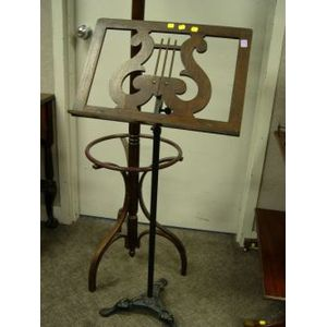 Oak and Cast Iron Sheet Music Stand and a Wooden Coat Tree.