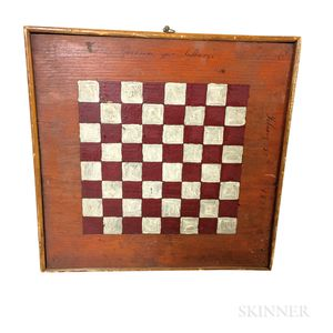 Small Polychrome Painted Wood Double-sided Game Board