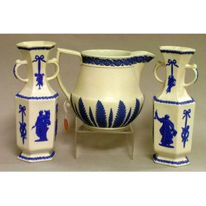 Pair of Wedgwood Blue Decorated White Stoneware Vases and a Jug.