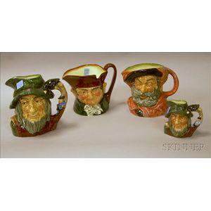 Four Royal Doulton Ceramic Character Jugs