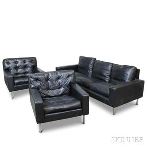 Three-piece Suite of Modern Italian Black Leather-upholstered Furniture