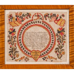 Watercolor Birth and Baptismal Fraktur for Maria Zollner
