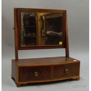 Federal Inlaid Mahogany and Mahogany Veneer Dressing Mirror on Bowfront Two-Drawer Cabinet.