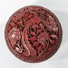 Carved Dark Red Cinnabar Lacquered Double-sided Box and Cover