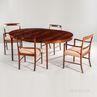 """Ole Wanscher for AJ Iversen Brazilian Rosewood Dining Table and Eight """"Forum"""" Chairs"""
