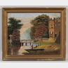 American School, 19th Century      Two Works: Primitive Landscape with Men Fishing