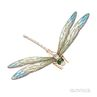 Art Nouveau Style Plique-a-Jour Enamel and Diamond Dragonfly Brooch