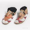 Pair of Plains Beaded and Quilled Hide Moccasins